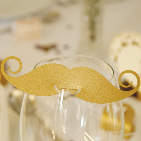 Pearlescent Moustache Wedding Wine Glass Name Place Cards (Pack of 10)