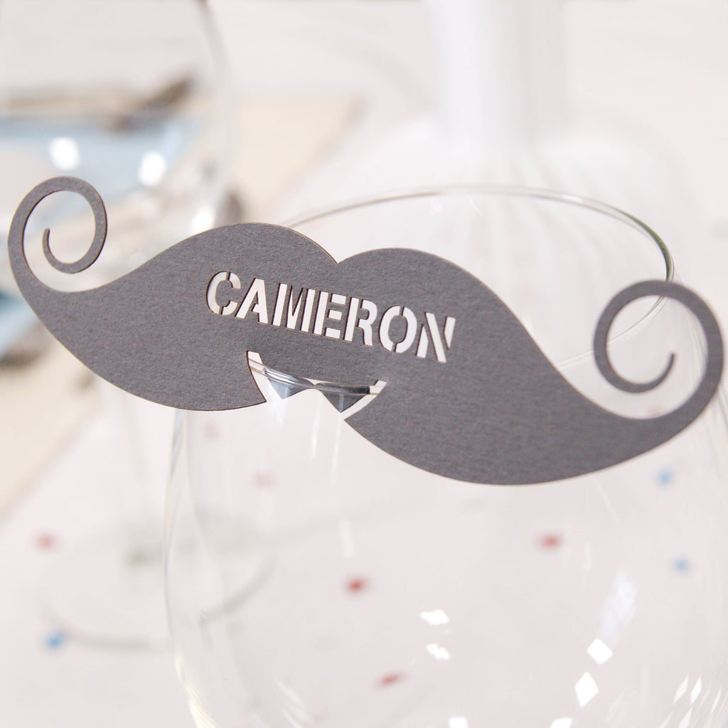 Moustache Place Card in Dark Grey (front)