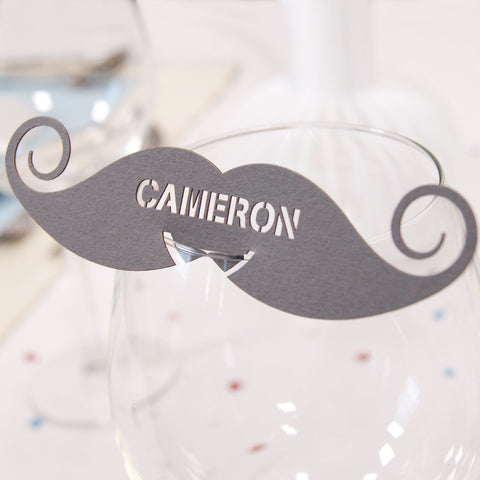 Personalised Moustache Wedding Wine Glass Name Place Card
