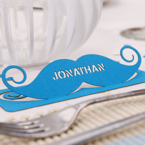 Personalised Moustache Wedding Table Name Place Card