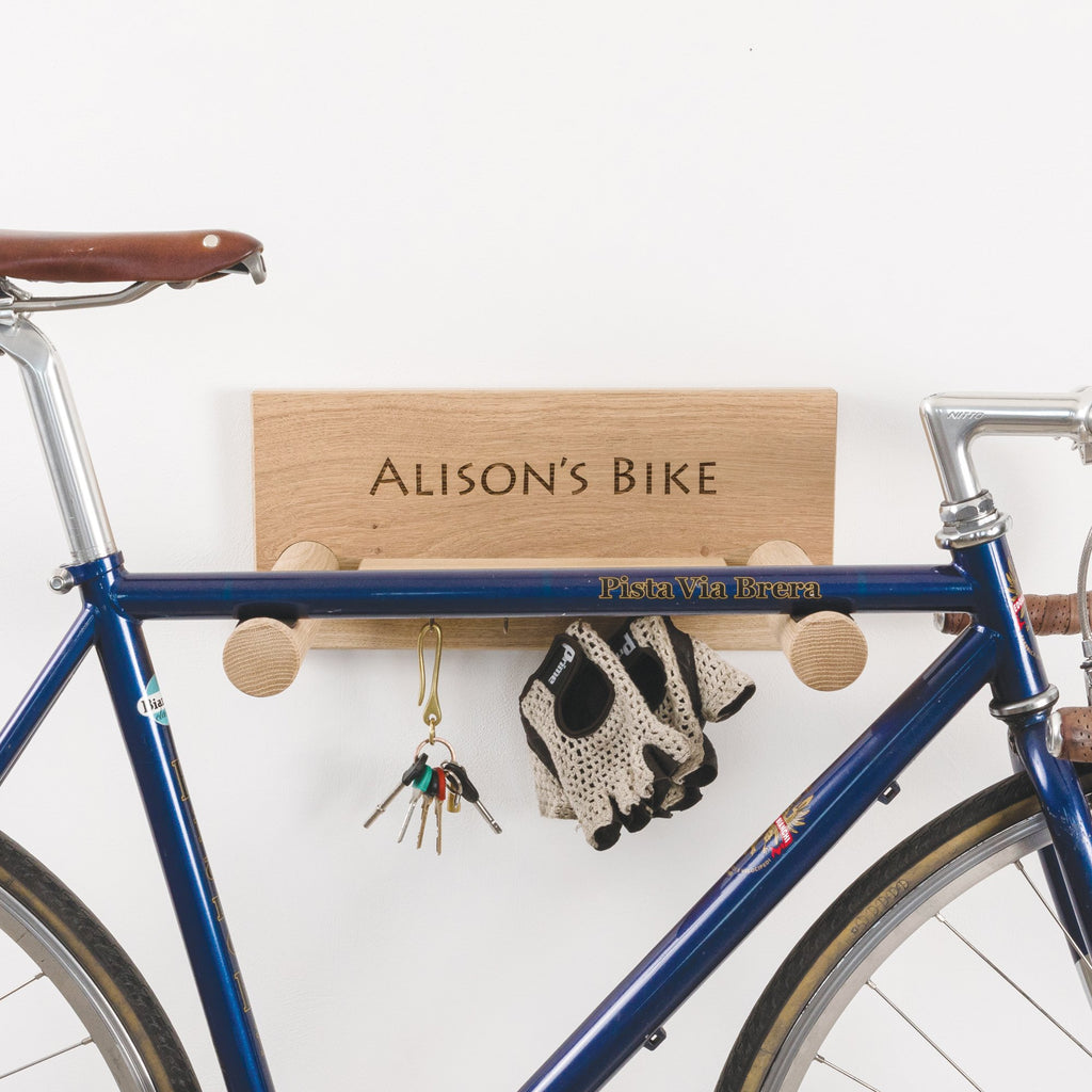 Personalised Oak Bike Shelf with Hanging Shelf