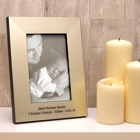 New Baby Photo Frame in Champagne Silver