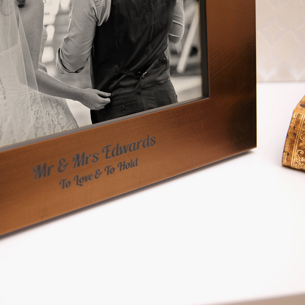Personalised Bronze 8th Anniversary Photo Frame