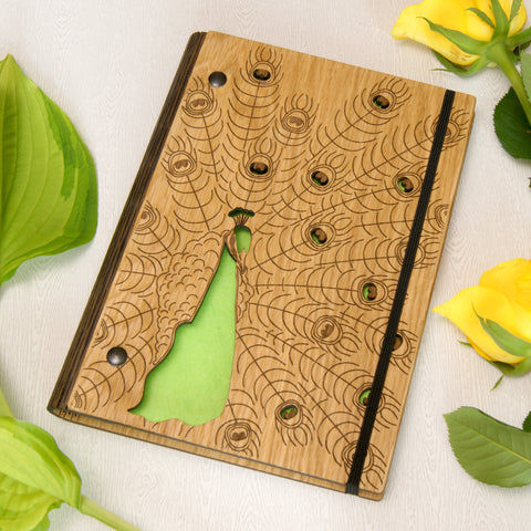 Wooden Peacock Notebook