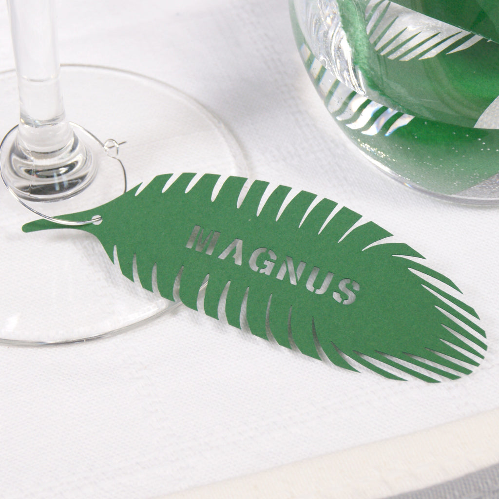 Personalised Peacock Feather in Green