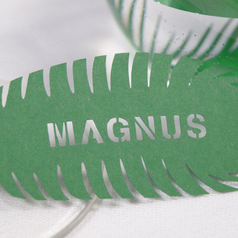 Close up Personalised Peacock Feather in Green