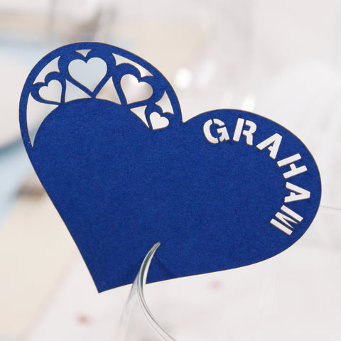 Personalised Detailed Heart Wine Glass Place Cards – Urban Twist