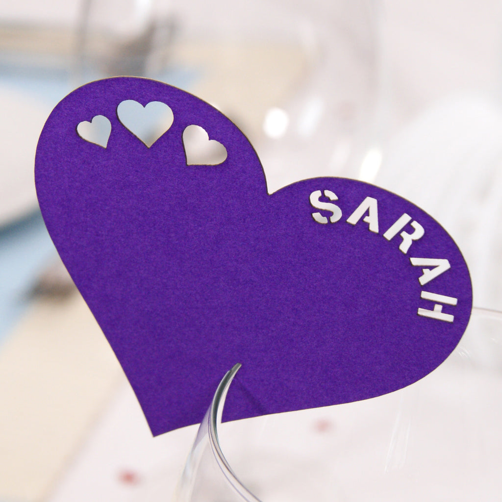 Heart Place Card in Purple