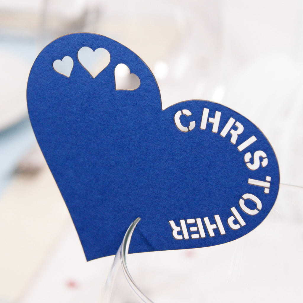 Heart Place Card in Sapphire
