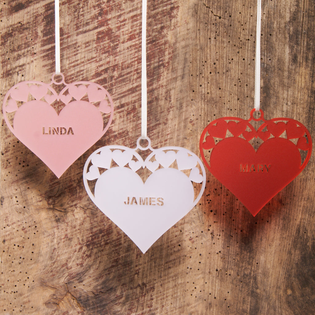 Acrylic Hanging Heart in Frost Pink, Frost White and Frost Red