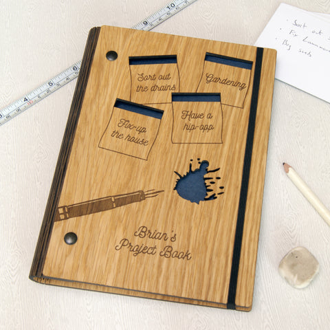 Personalised Wooden Project Notebook