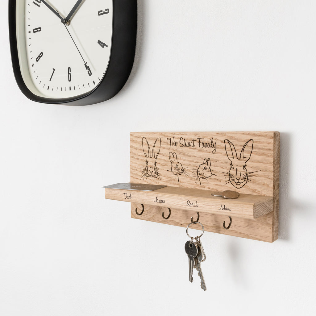 Personalised Rabbit Family Oak Key Holder