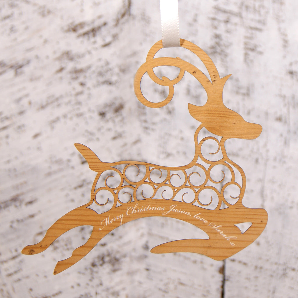 Personalised Christmas Decoration - Flying Reindeer