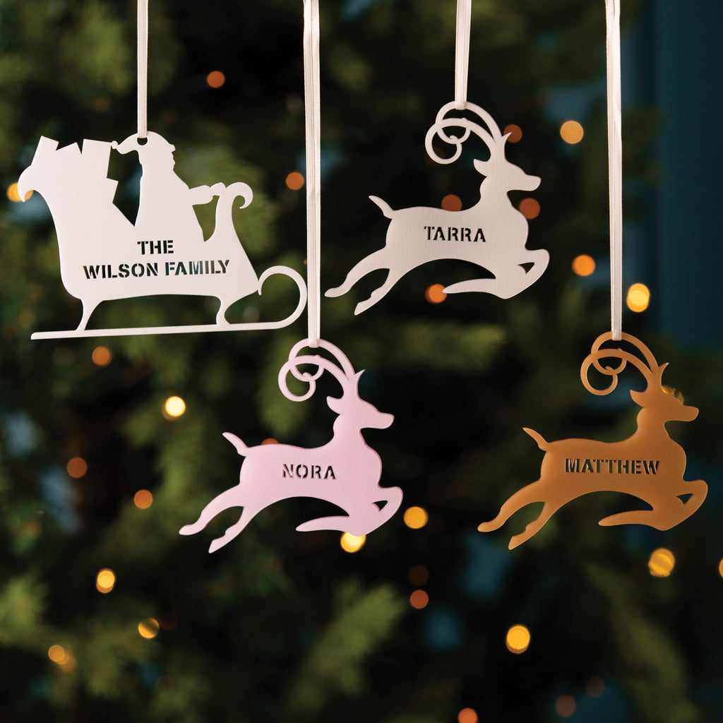 Personalised Christmas Tree Decoration - Reindeer or Sleigh