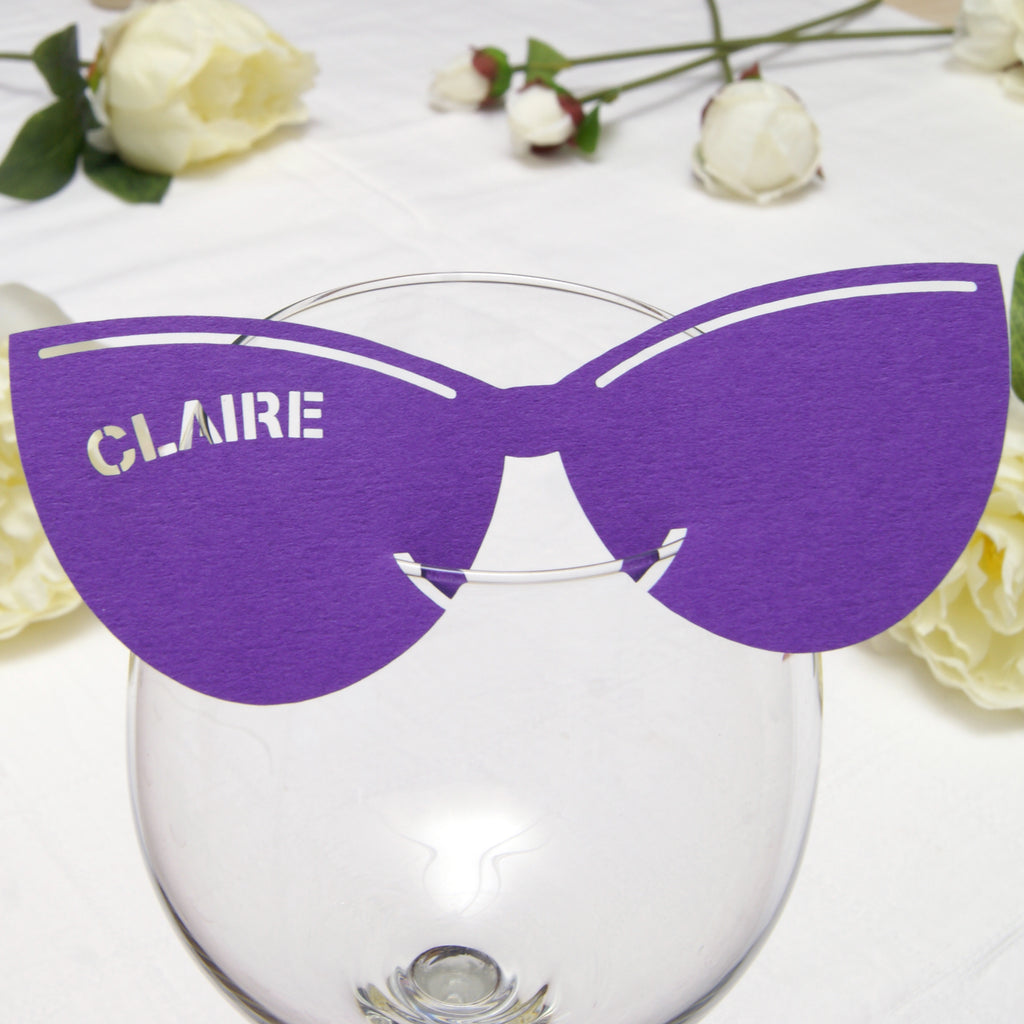 Retro Sunglasses Place Card in Purple