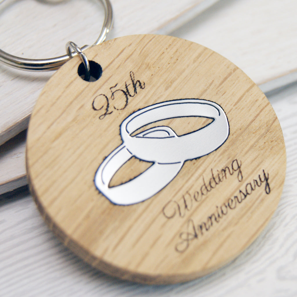 Personalised 25th Anniversary Wooden Keyring