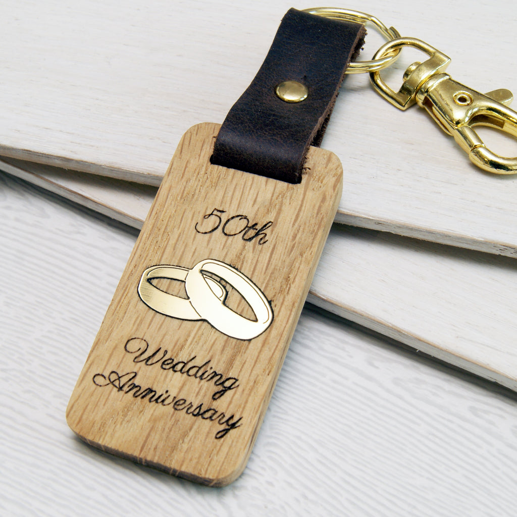 Personalised 50th Anniversary Leather & Wood Keyring