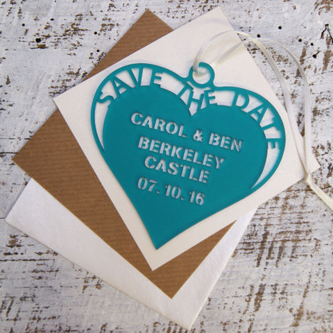 Frosted Hanging Heart Save The Date