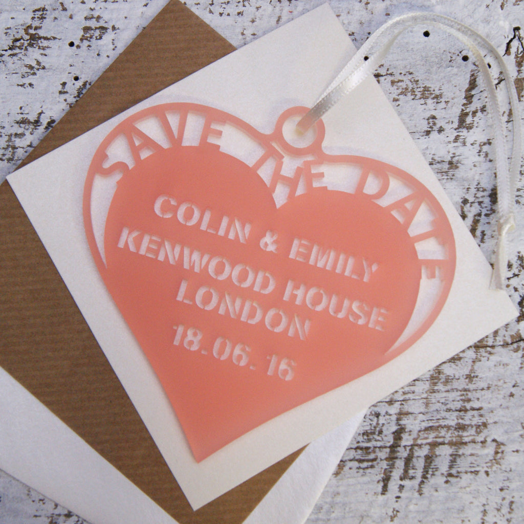 Frosted Hanging Heart Save The Date in Frost Baby Pink
