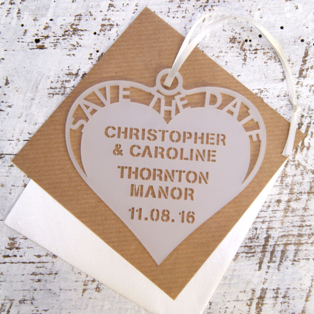 Frosted Hanging Heart Save The Date in Frost White