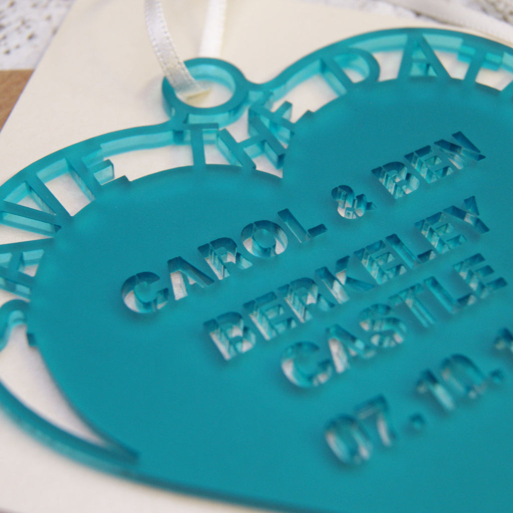 Frosted Hanging Heart Save The Date in Frost Turquoise