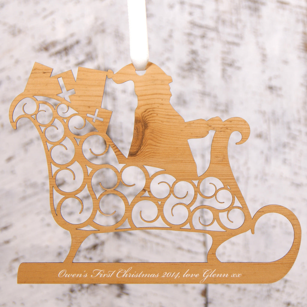 Personalised Christmas Decoration - Santa's Sleigh
