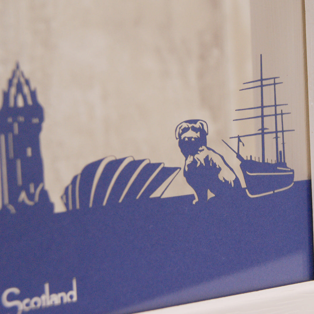 Scotland Landmarks in Matt Royal Blue
