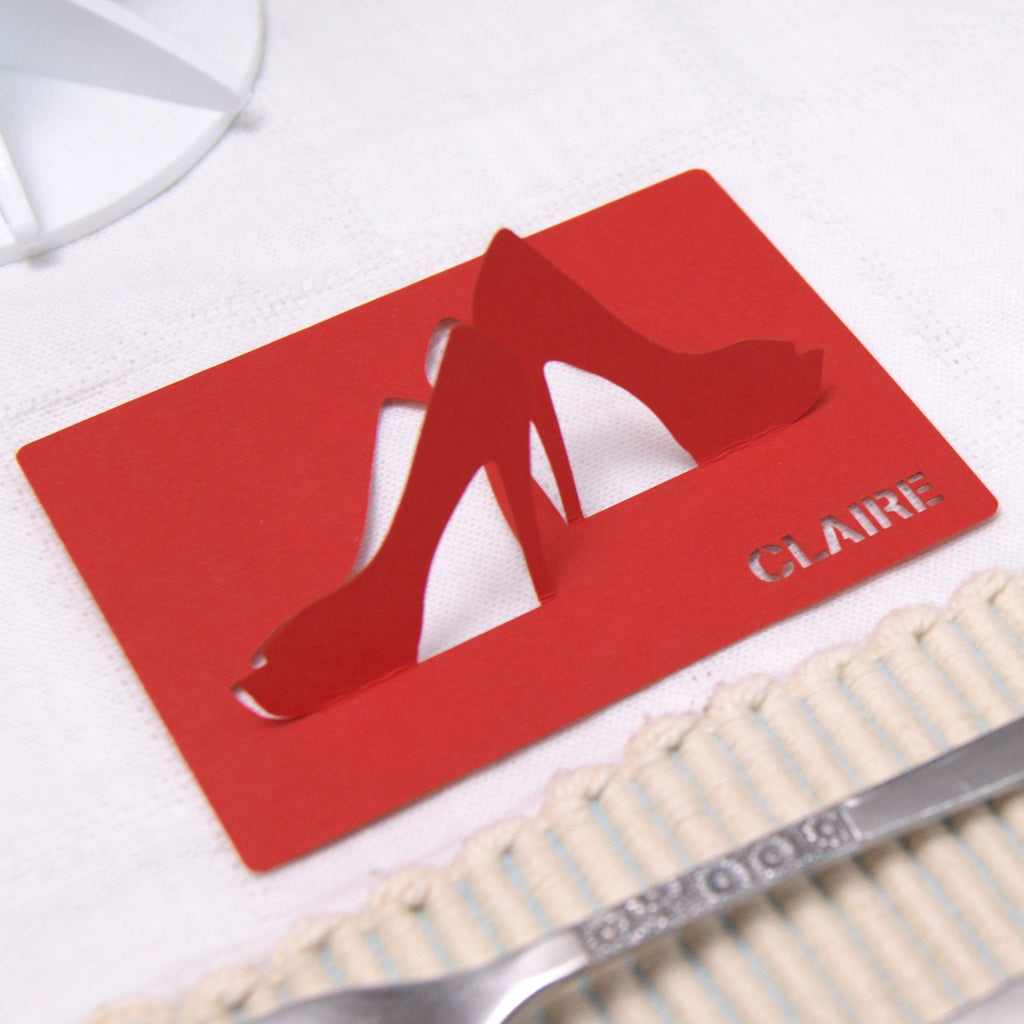 Stilettos Place Card in Vermillion