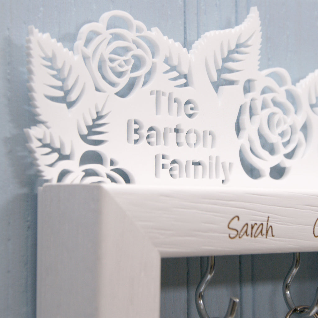 Personalised Small Rose Garden Key Holder