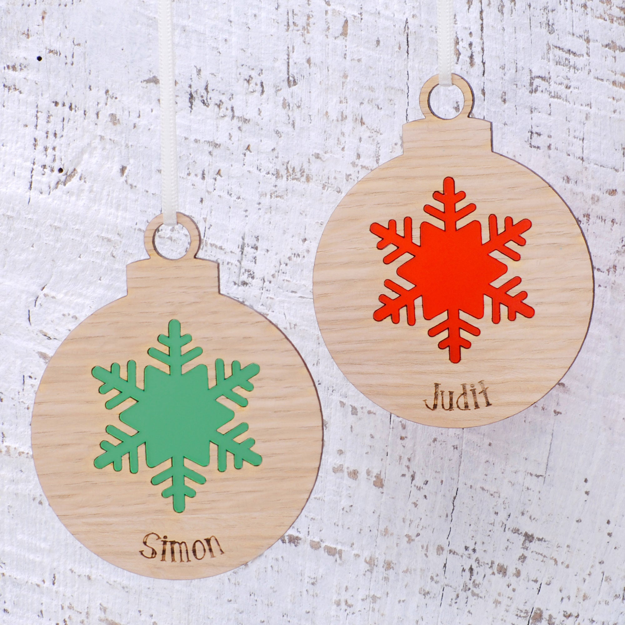 Personalised Wooden Snowflake Christmas Bauble Urban Twist