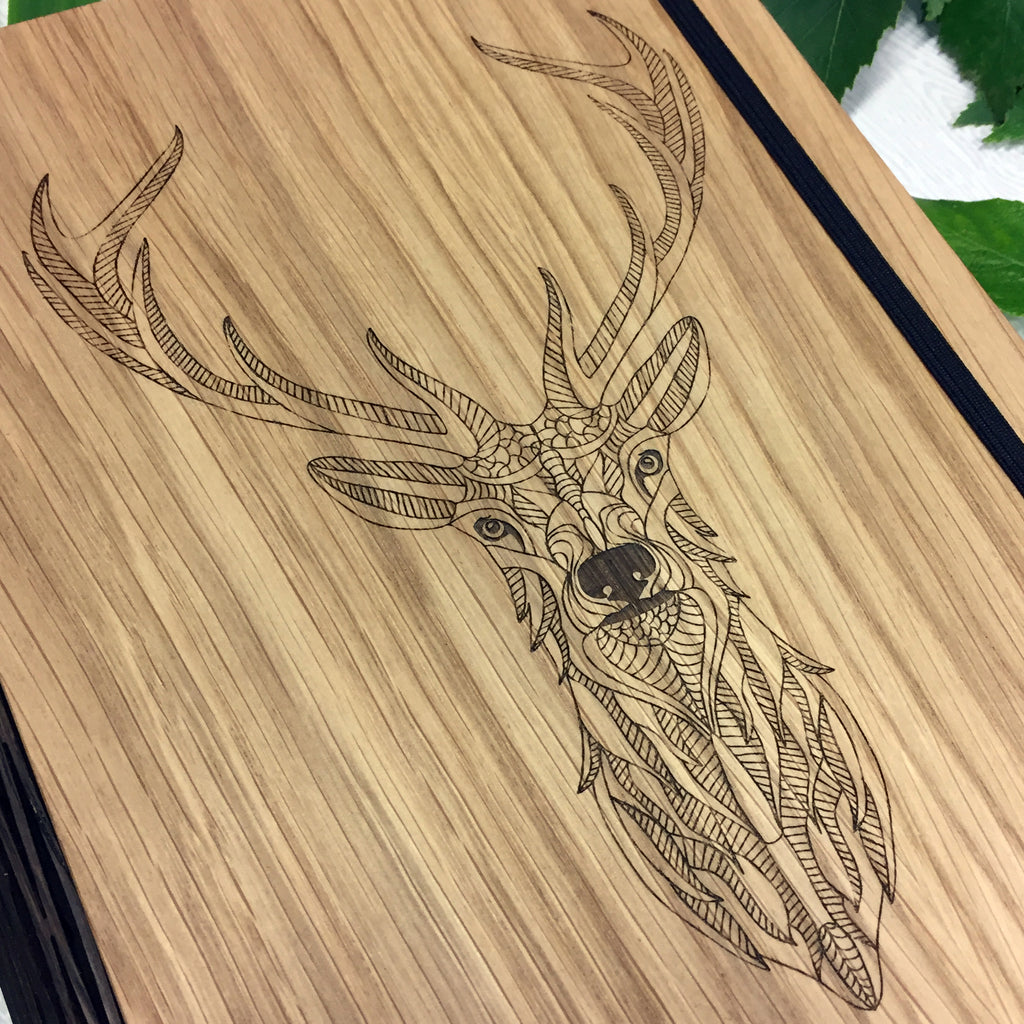 Engraved Wooden Stag's Head Notebook