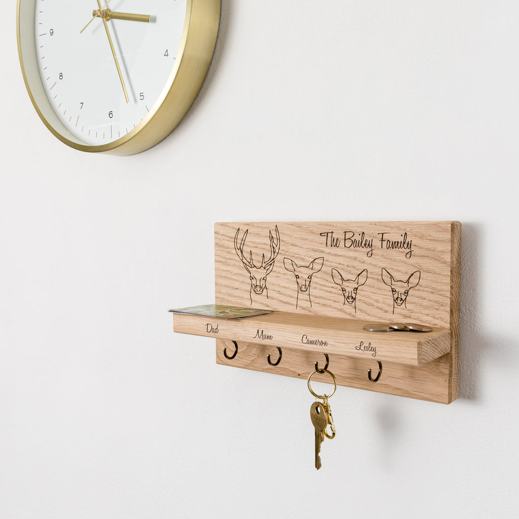 Personalised Stag Family Oak Key Holder