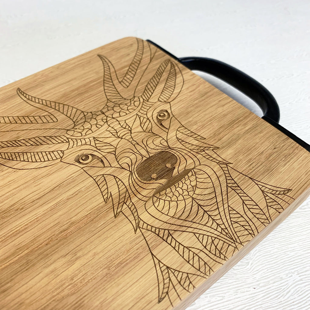 Wooden Stag's Head Serving Board
