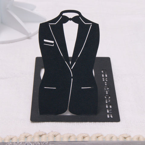 Personalised Suit Wedding Table Name Place Card