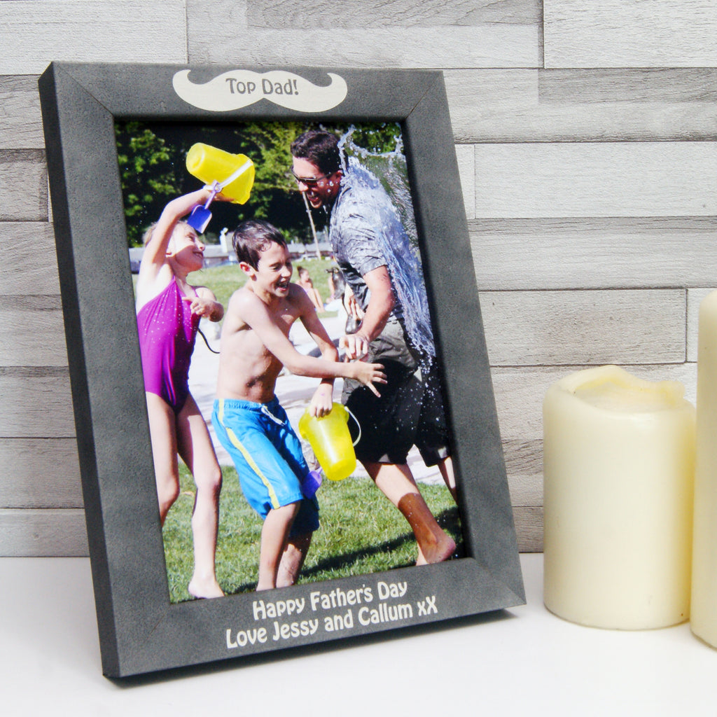 Personalised Stone-Effect Moustache Photo Frame