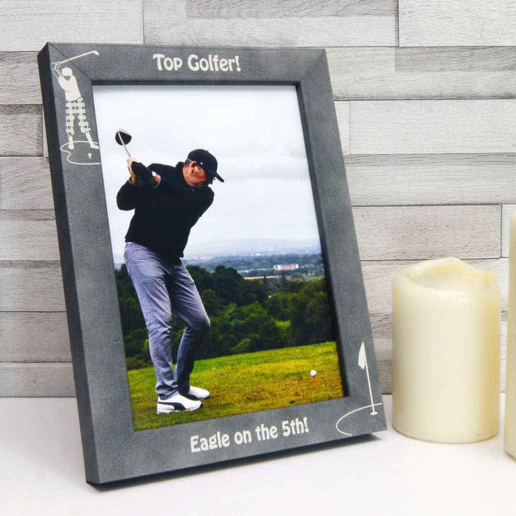 Personalised Stone-Effect 'Top Golfer' Photo Frame