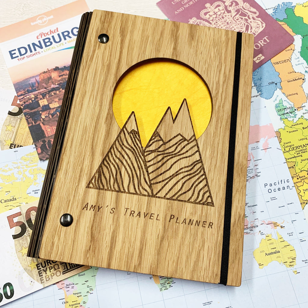 Personalised Wooden Travel Planner Notebook