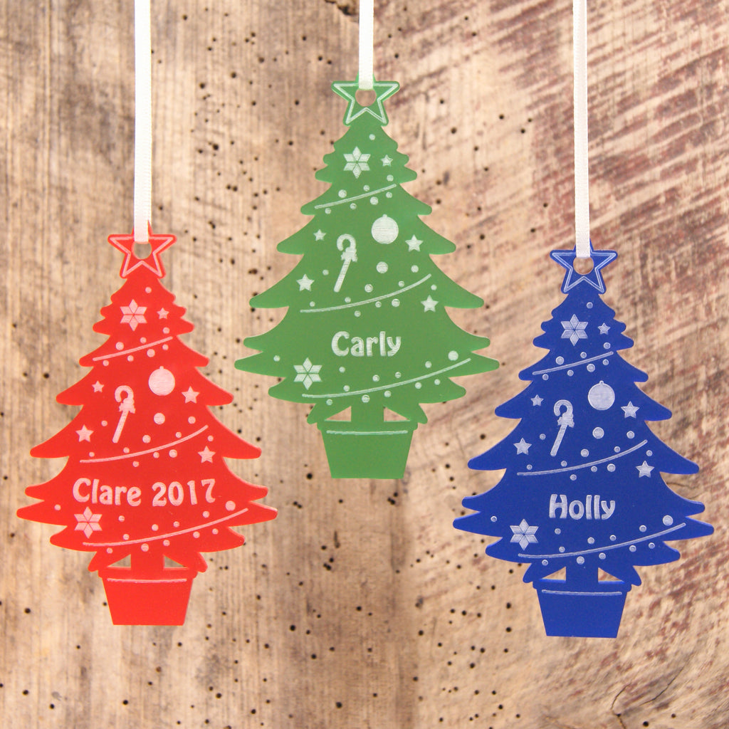 Acrylic Christmas Tree Decoration in Frost Red, Frost Green and Frost Blue
