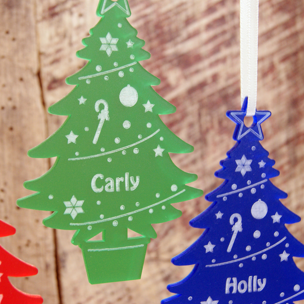 Acrylic Christmas Tree Decoration in Frost green and Frost Blue
