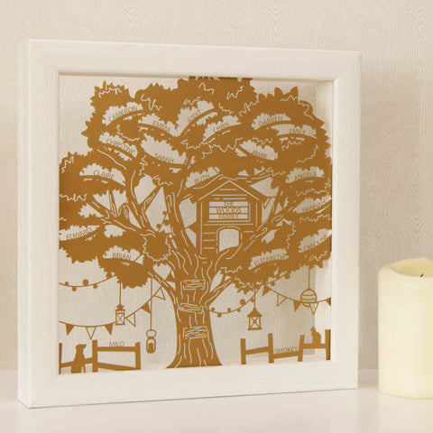 Treehouse Family Tree in Pearlescent Gold