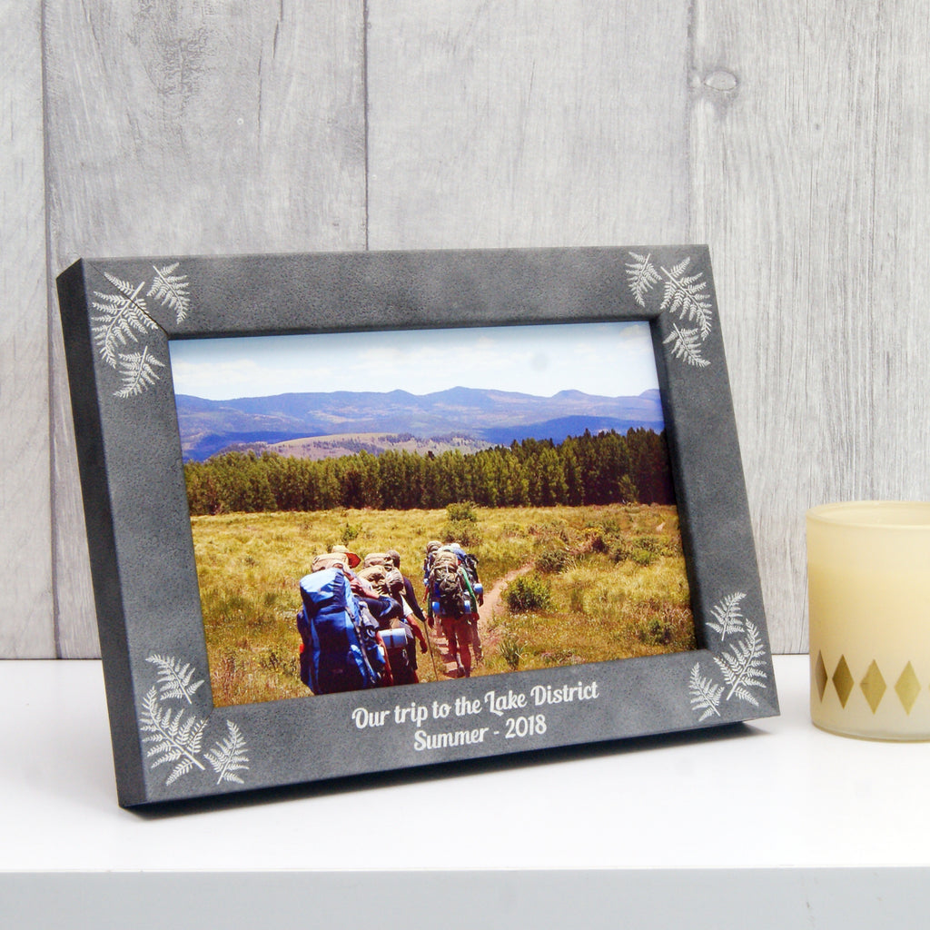 Personalised Stone-Effect Fern Photo Frame