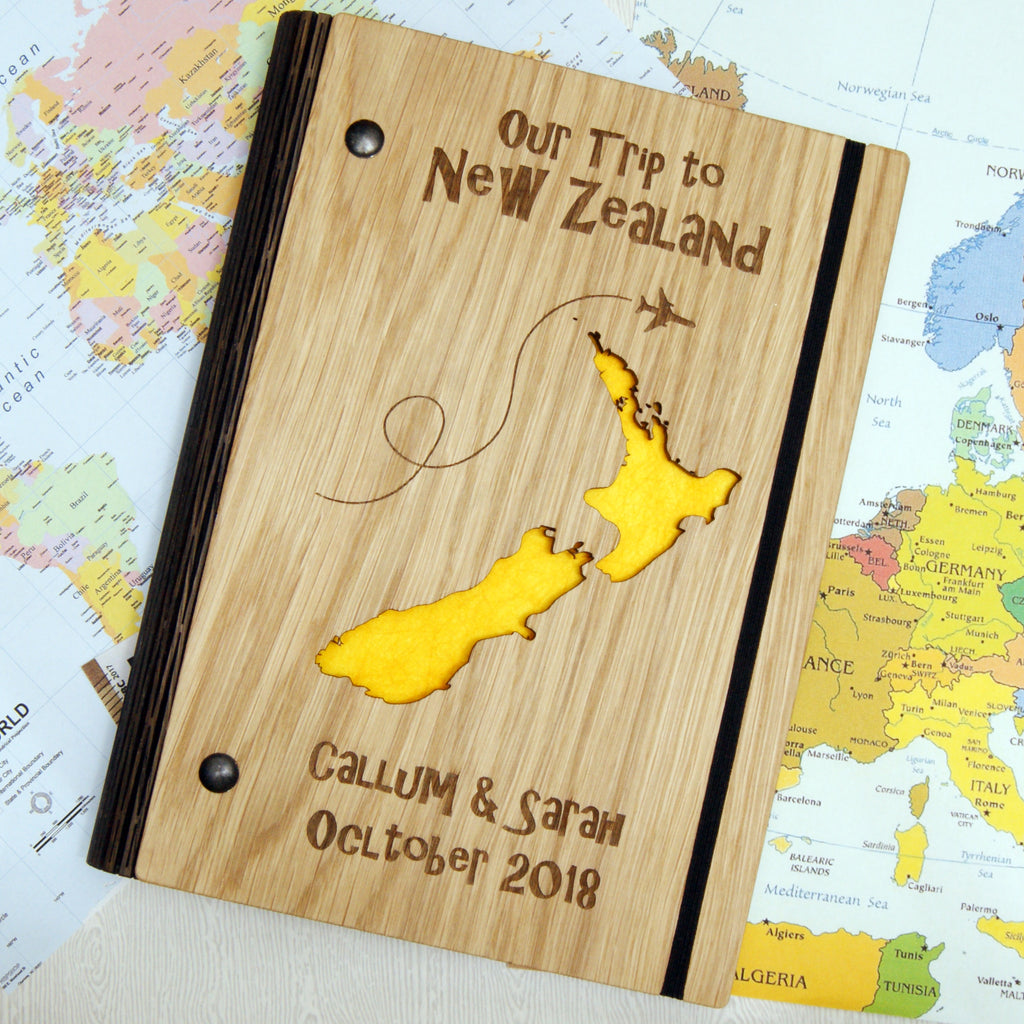 Personalised Wooden Map Travel Notebook