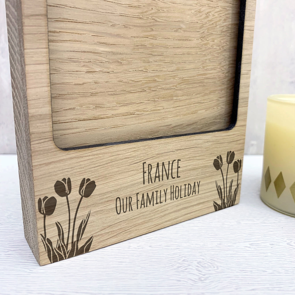 Personalised Wooden Tulips Photo Block