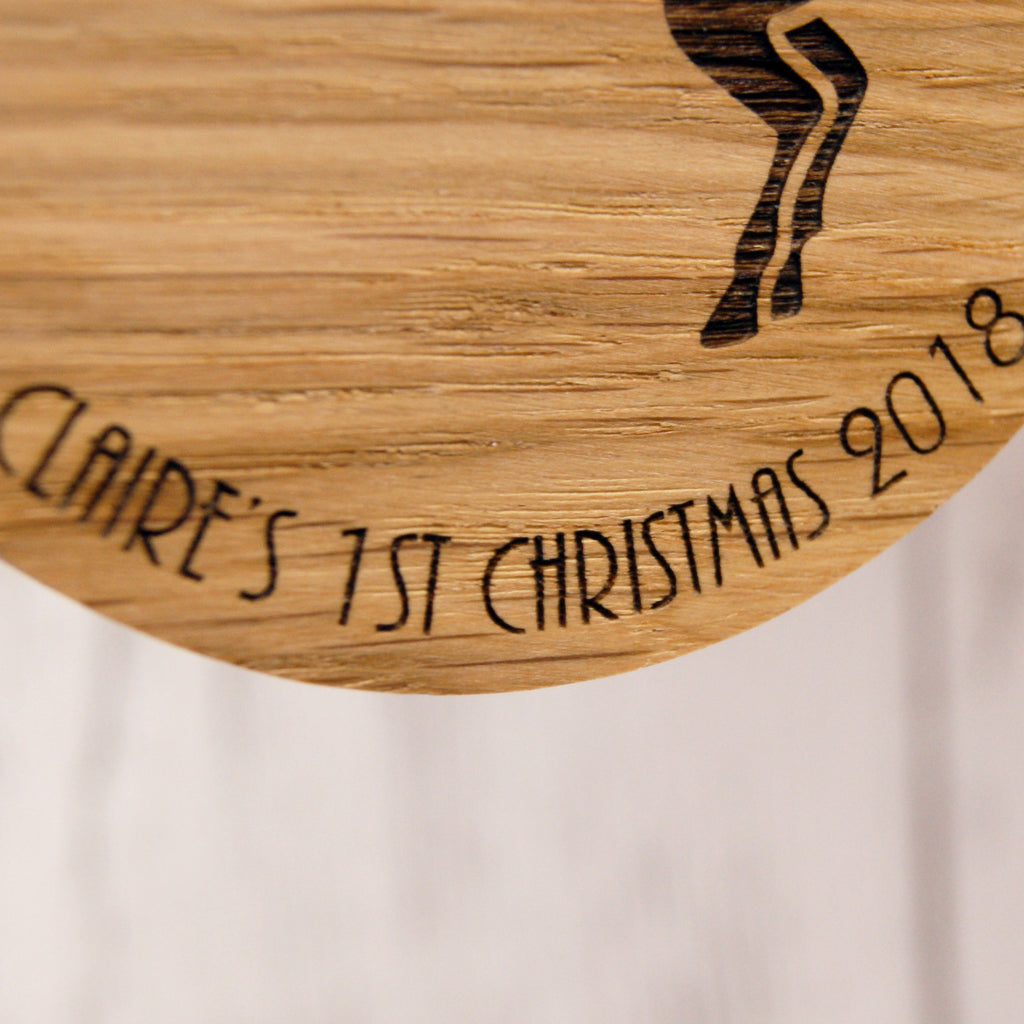 Personalised Oak Christmas Decoration - Baby's First Christmas Unicorn Design