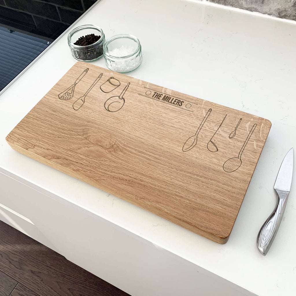 Personalised Wooden Utensils Chopping Board