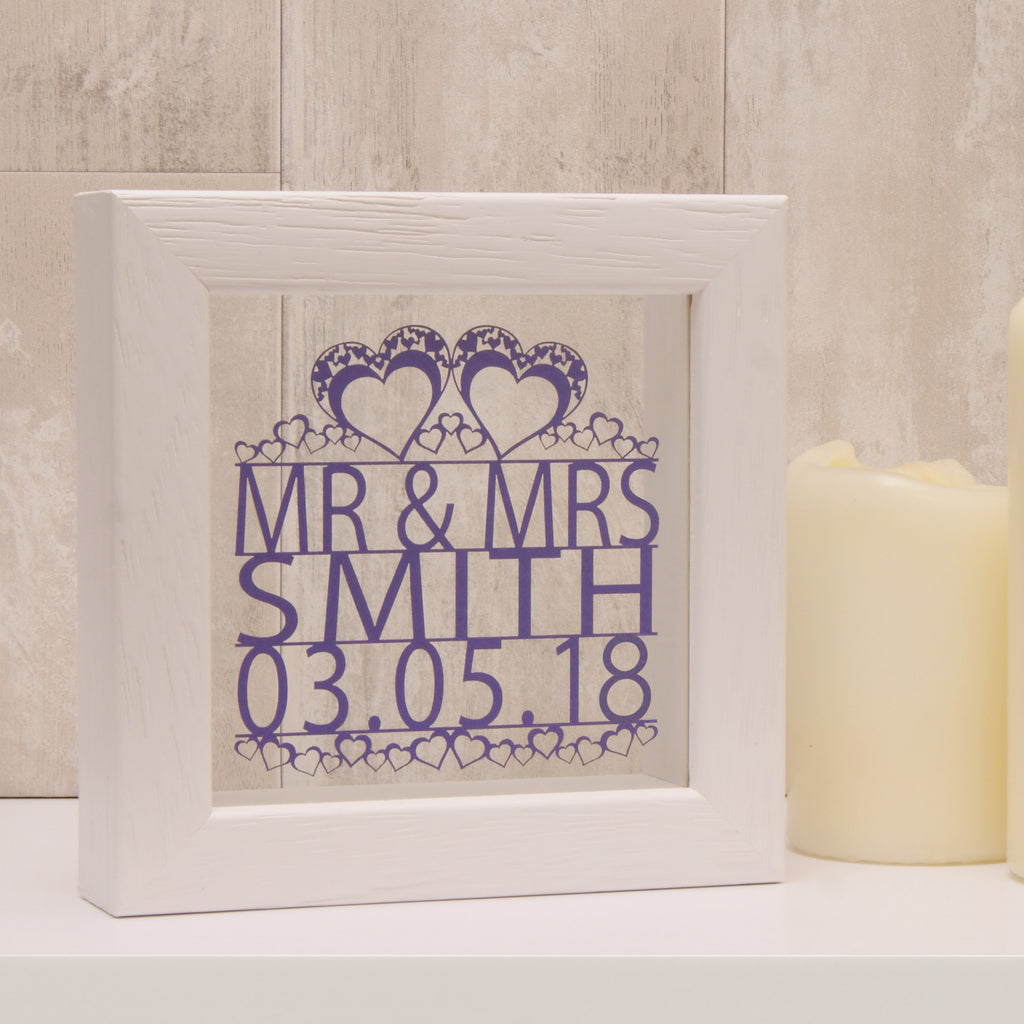 Mini Wedding Papercut in Matt Purple