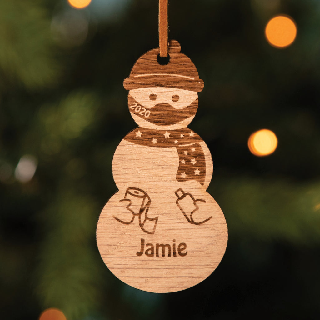 Personalised Wooden Masked Snowman Christmas Tree Decoration
