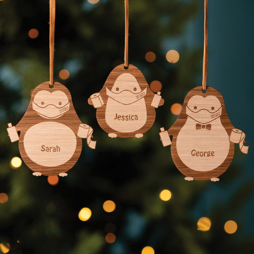 Personalised Wooden Masked Penguin Christmas Tree Decoration