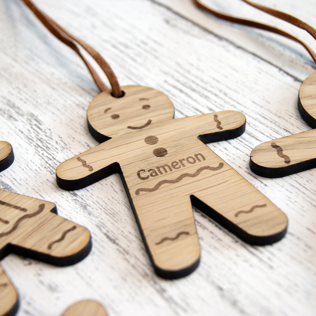 Personalised Wooden Gingerbread Man Christmas Tree Decoration
