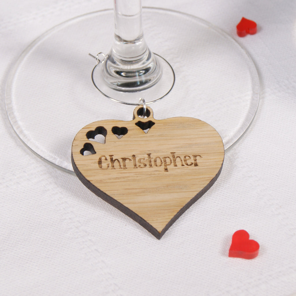 Wooden Heart Wine Glass Charm